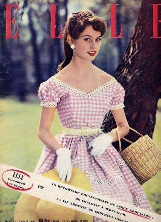 Couverture Magasine Elle Brigitte Bardot en vichy