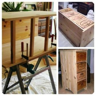 Fabrication d'un meuble en caisse de vin