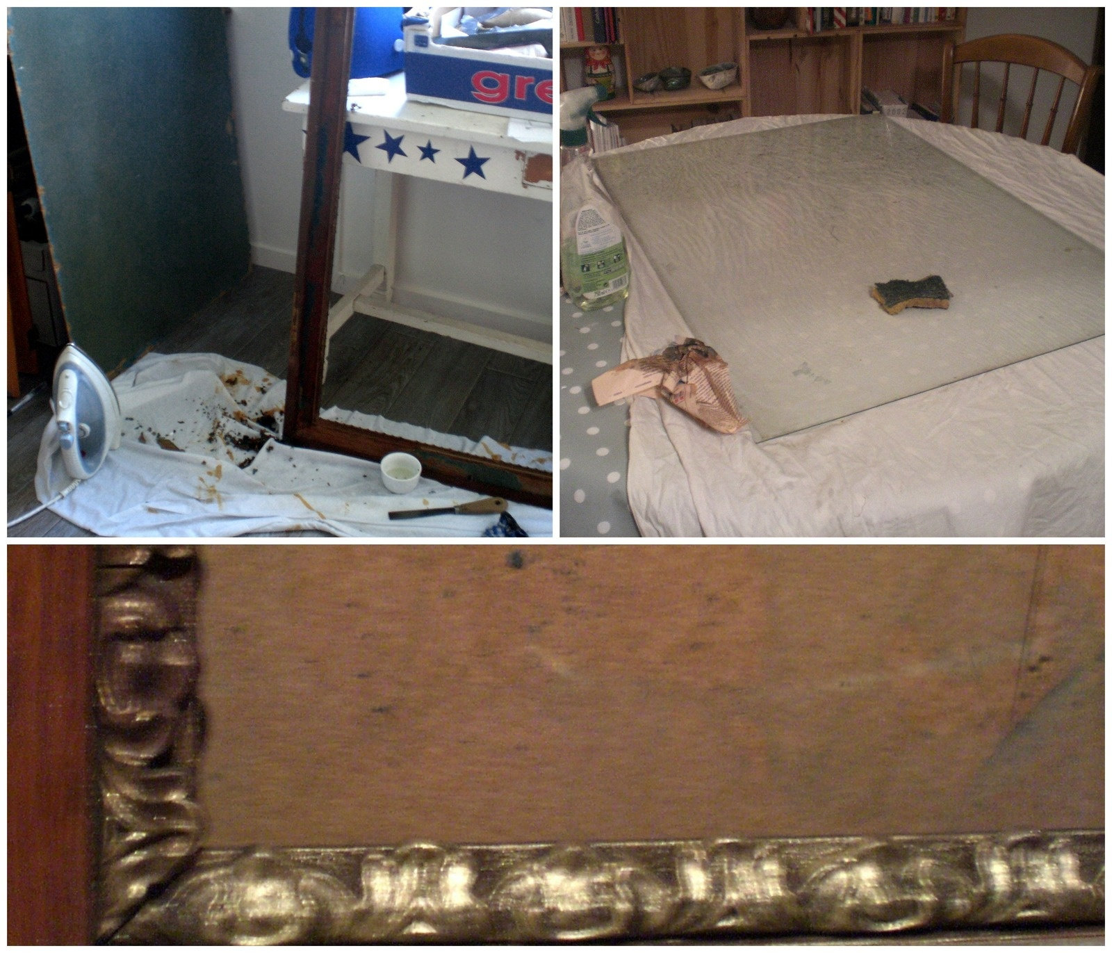 Nettoyage du cadre/ de la vitre / Dorure en cours