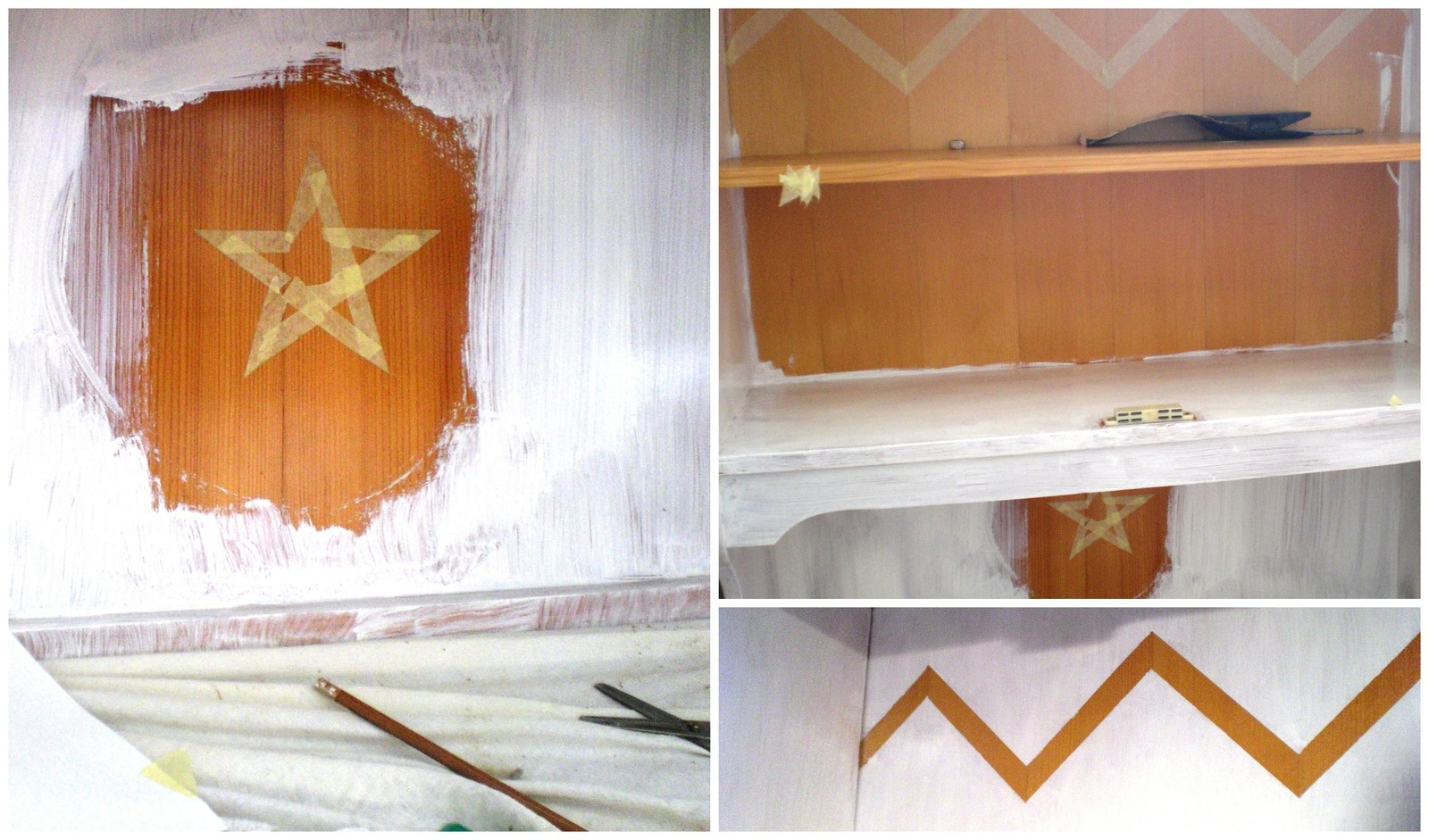 détails de peinture au masking-tape
