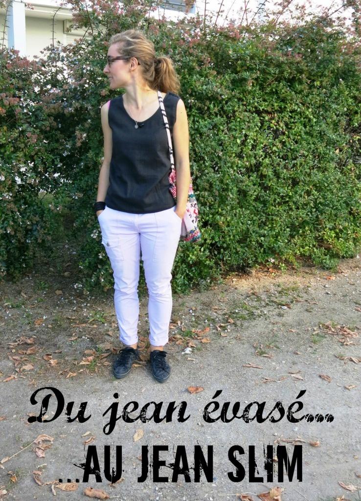Mon nouveau jean slim avec un jean évasé