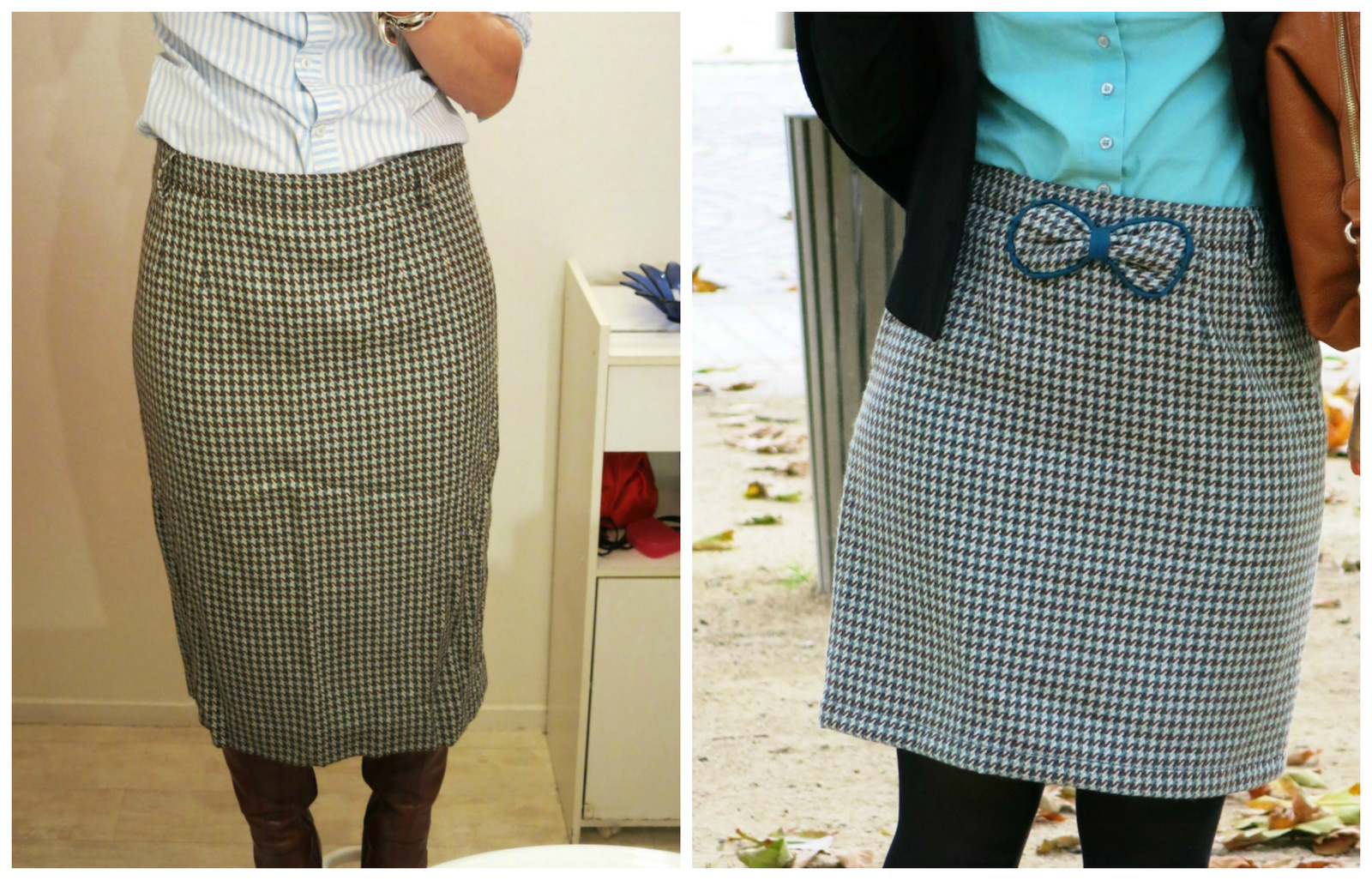 jupe vintage customisée avant après