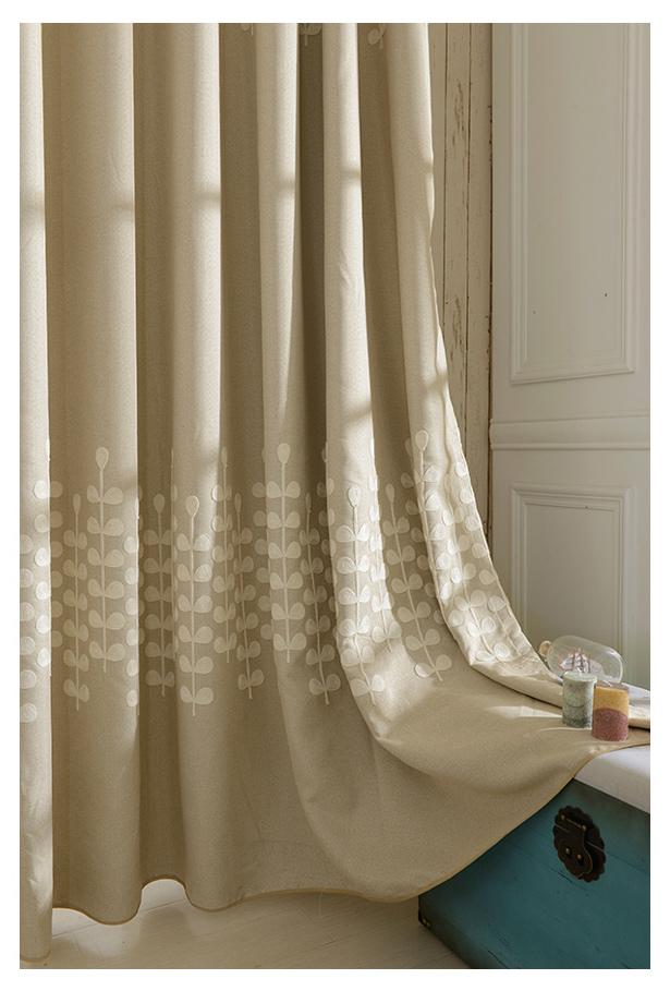 rideaux en lin beige à motifs feuilles