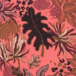 tissu satin jungle corail