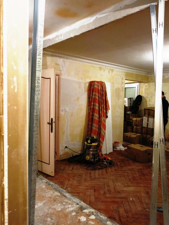 Le salon pendant les travaux