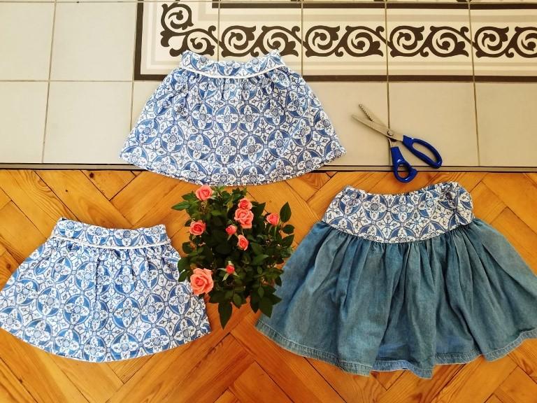 trois jupes à partir d'une robe vintage