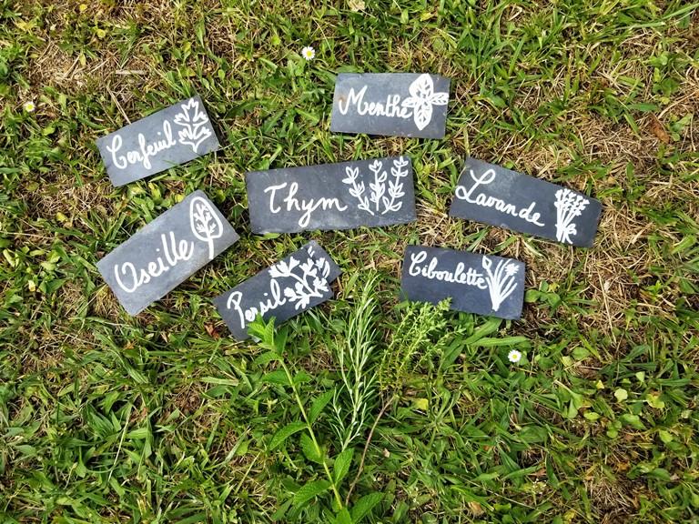 étiquettes ardoises plantes